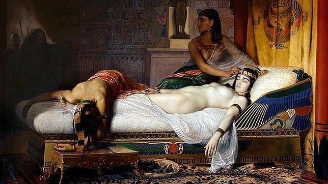 Pintura que representa el suicidio de Cleopatra