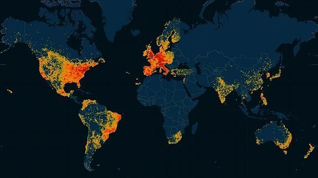 Mapa elaborado por Tecnilógica con los usuarios a nivel mundial registrados en Ashley Madison