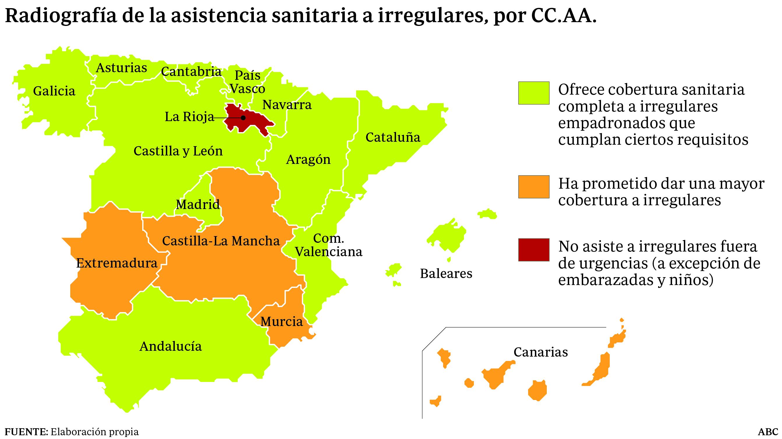 Mapa con la situación de cada región