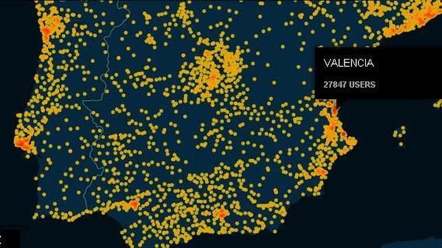 Imagen del mapa elaborado por Tecnilógica con los datos filtrados de Ashley Madison
