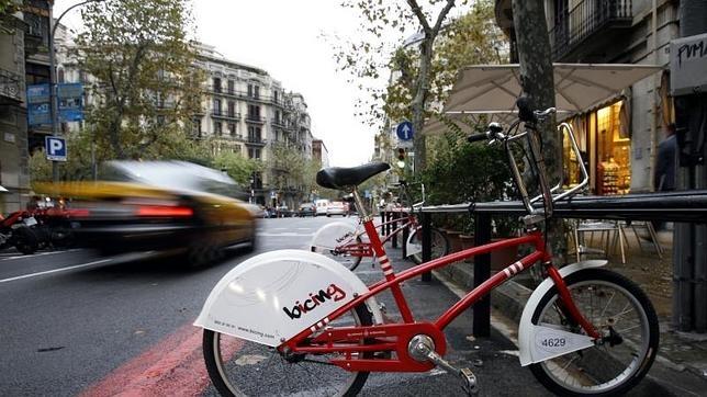 Una bicicleta de la plataforma Bicing, en Barcelona