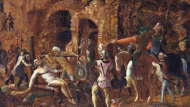 Cuadro del siglo XVI de Lancelot Blondel que recrea cómo vierten oro fundido por la garganta del cadáver de Craso