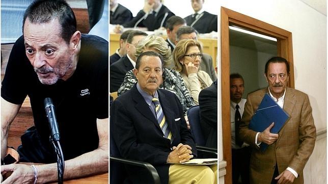 Muñoz en su paso por los juzgados. De derecha a izquierda, en 2007, en 2013 y en 2015