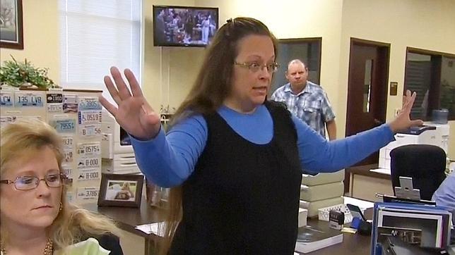 Kim Davis, funcionaria de Kentucky, cuando rechazó el matrimonio gay
