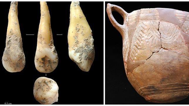 Imagen del diente del que se ha secuenciado el genoma de un agricultor neolítico e hace 7.400 años y restos de cerámica de la cultura cardial, caracterizado por las impresiones realizadas con conchas de bivalbos