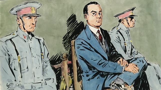 En las primeras sesiones, el procesado erguido, seguro de si mismo, casi desafiante (año 1958)