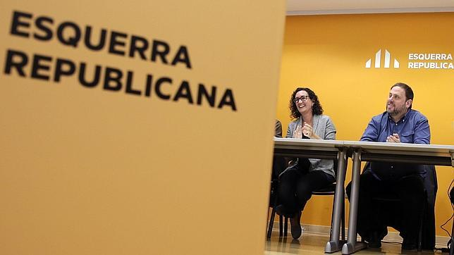 Oriol Junqueras y Marta Rovira, durante la ejecutiva de ERC