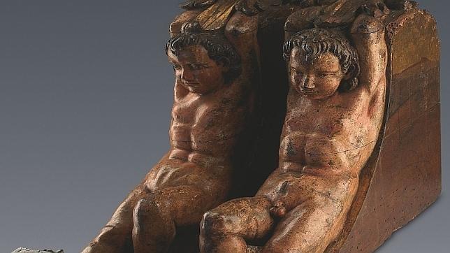 Pareja de esculturas en madera policromada atribuidas a Miguel Ángel