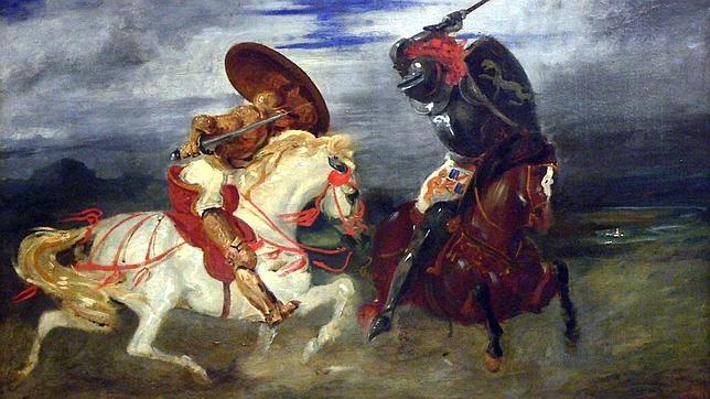 Dos caballeros con armadura completa se enfrentan a lomos de sus monturas