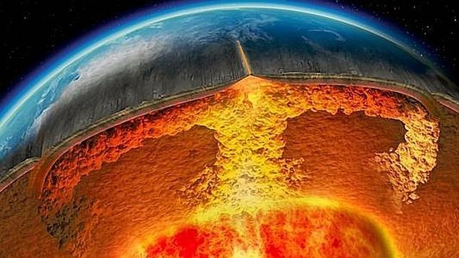 Imagen de la supuesta apariencia actual del núcleo terrestre