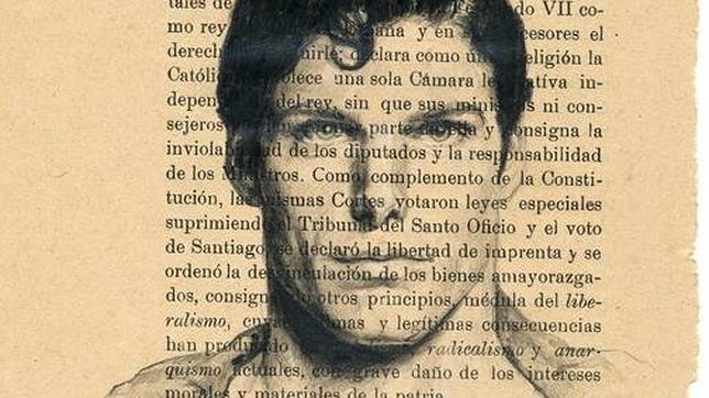 Detalle de «Palimpsesto. Superman», lápiz sobre papel de libro de Historia