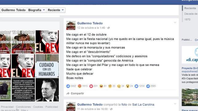 Mensaje colgado por Willy Toledo en su página de Facebook con motivo de la fiesta de la Virgen del Pilar