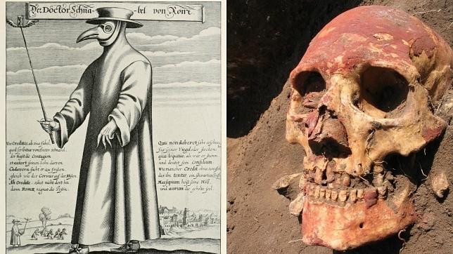 A la izquierda, un «médico de la peste», en la Edad Media, a la derecha, un poblador europeo de la Edad del Bronce