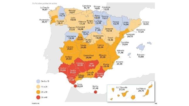 Seis de las ocho provincias andaluzas tienen una tasa de paro