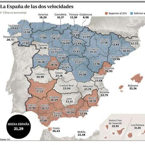 Casi uno de cada tres habitantes de Cdiz Huelva Mlaga y