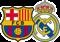 Escudos del F.C. Barcelona y del Real Madrid
