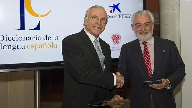 Dario Villanueva y el Presidente de la Fundacion la Caixa Isidro Faine presentan la plataforma On Line del diccionario de la RAE.
