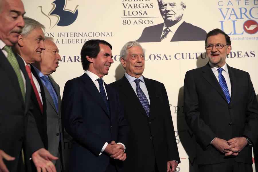Pastrana, Piñero, Margallo, Aznar, Vargas Llosa y Rajoy, en el inicio del seminario celebrado en la Casa de América