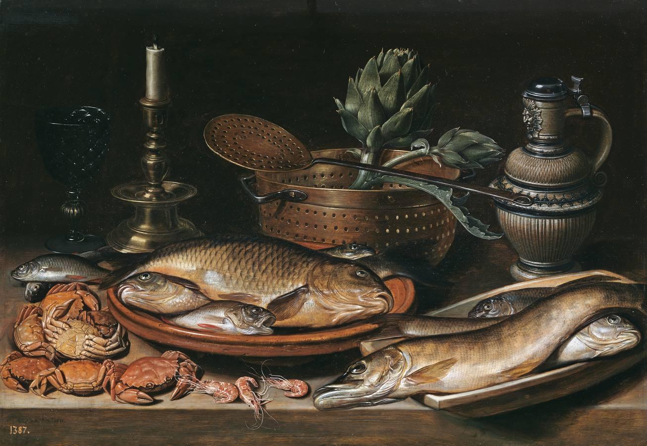 «Bodegón con pescado, vela, alcachofas, cangrejos y gambas» (1611), de Clara Peeters