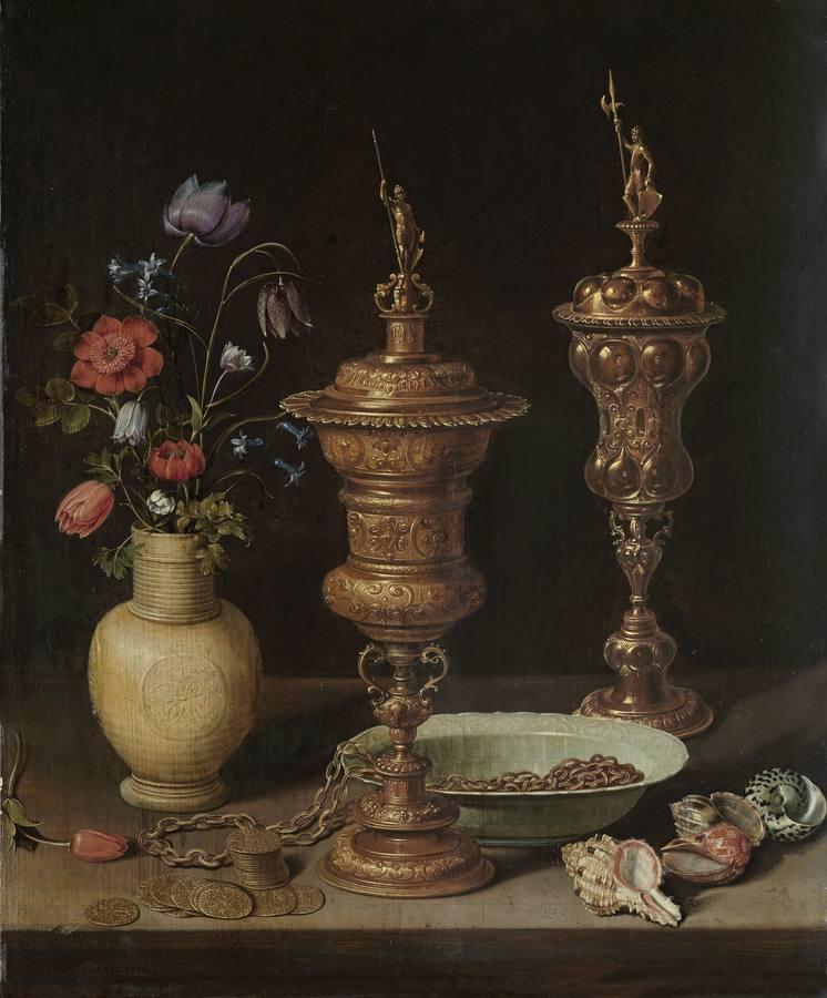 «Bodegón con flores, copas doradas, monedas y conchas» (1612), de Clara Peeters