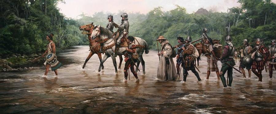 «La marcha a Tenochtitlán» (1519). El «Paso de Cortés» hacia Tenochtitlan, la capital azteca
