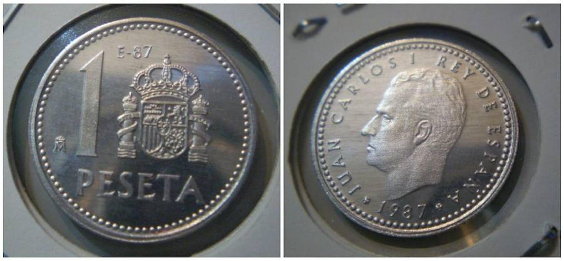 Peseta 1987 E-87. Fue acuñada con motivo de la III Exposición Nacional de Numismática. Los coleccionistas suelen pagar unos 45 euros por ella.