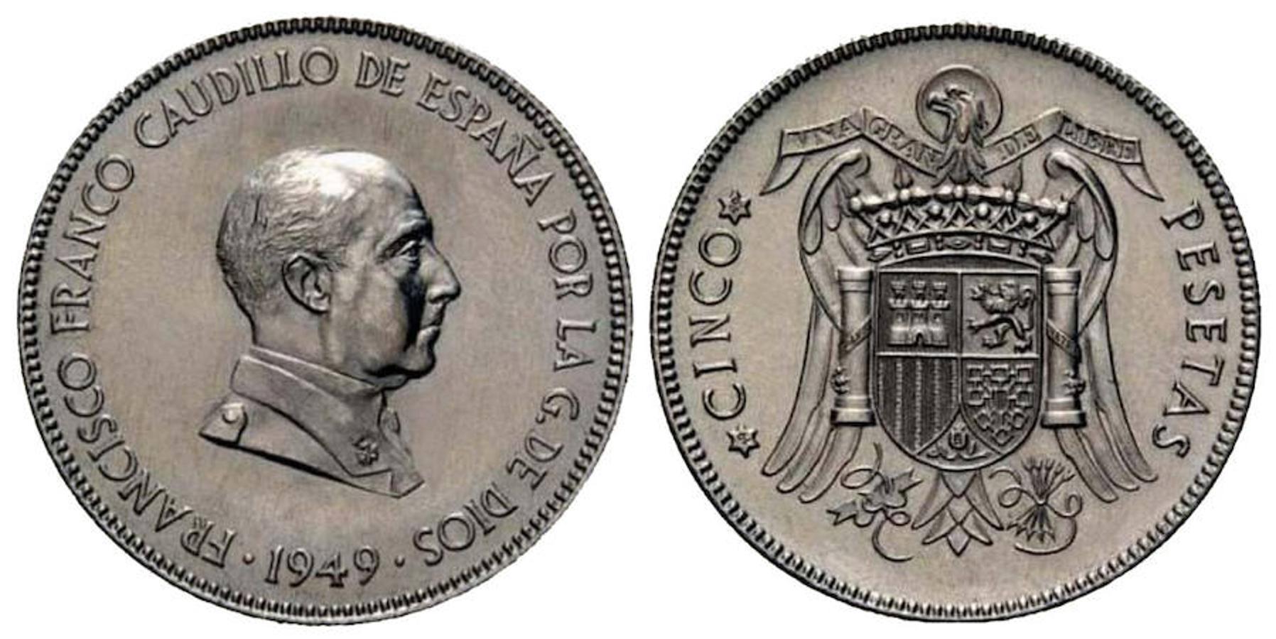 Los famosos duros se acuñaron hasta 1952. El encarecimiento del níquel hizo que creciera la especulación y se hubo de retirar de la circulación. Pueden llegar a costar entre 12.000 y 20.000 euros.