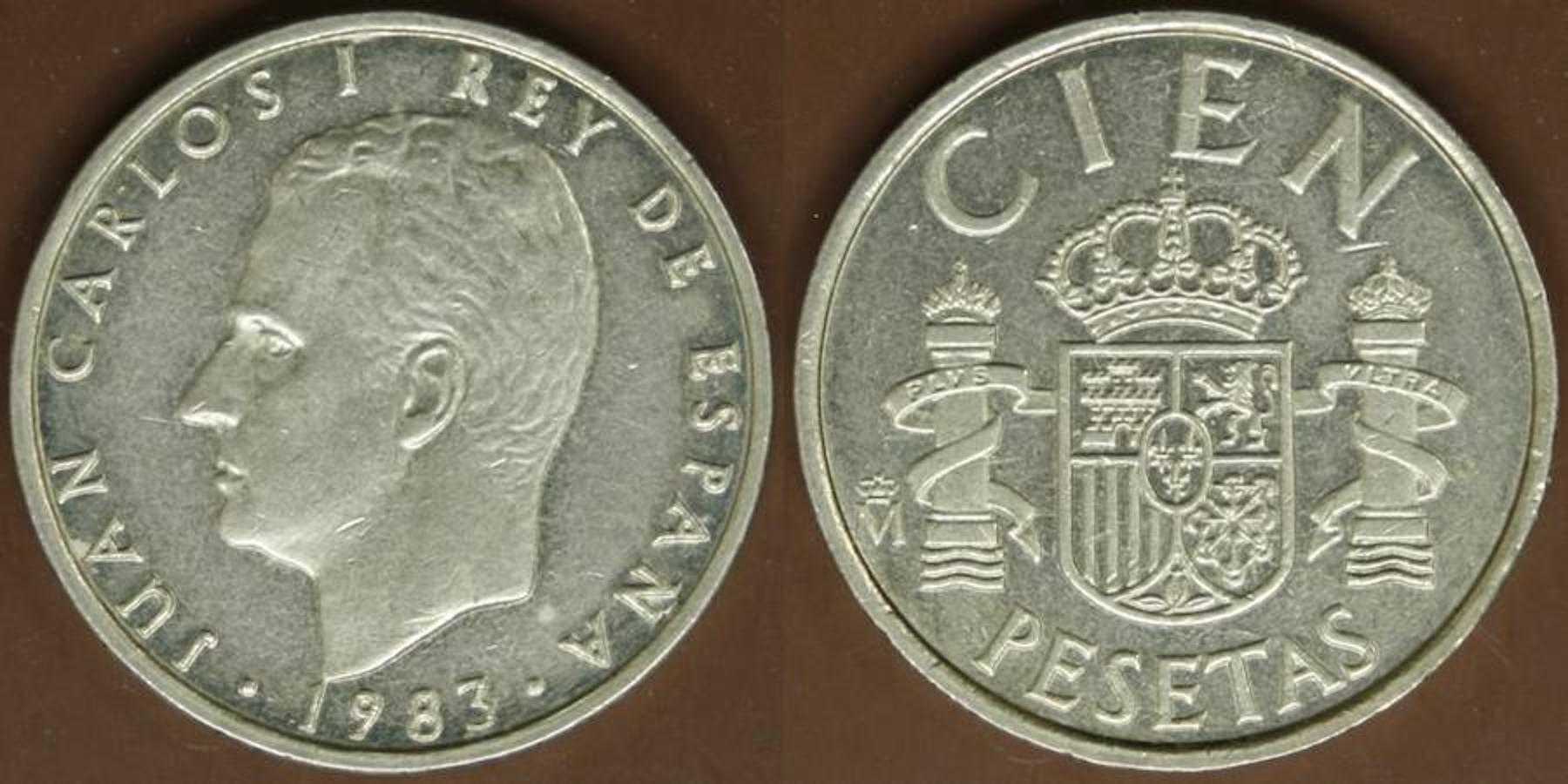 100 Pesetas 1983. Los míticos «20 duros» están representados por esta dorada moneda de 1983, valorada en 55 euros.