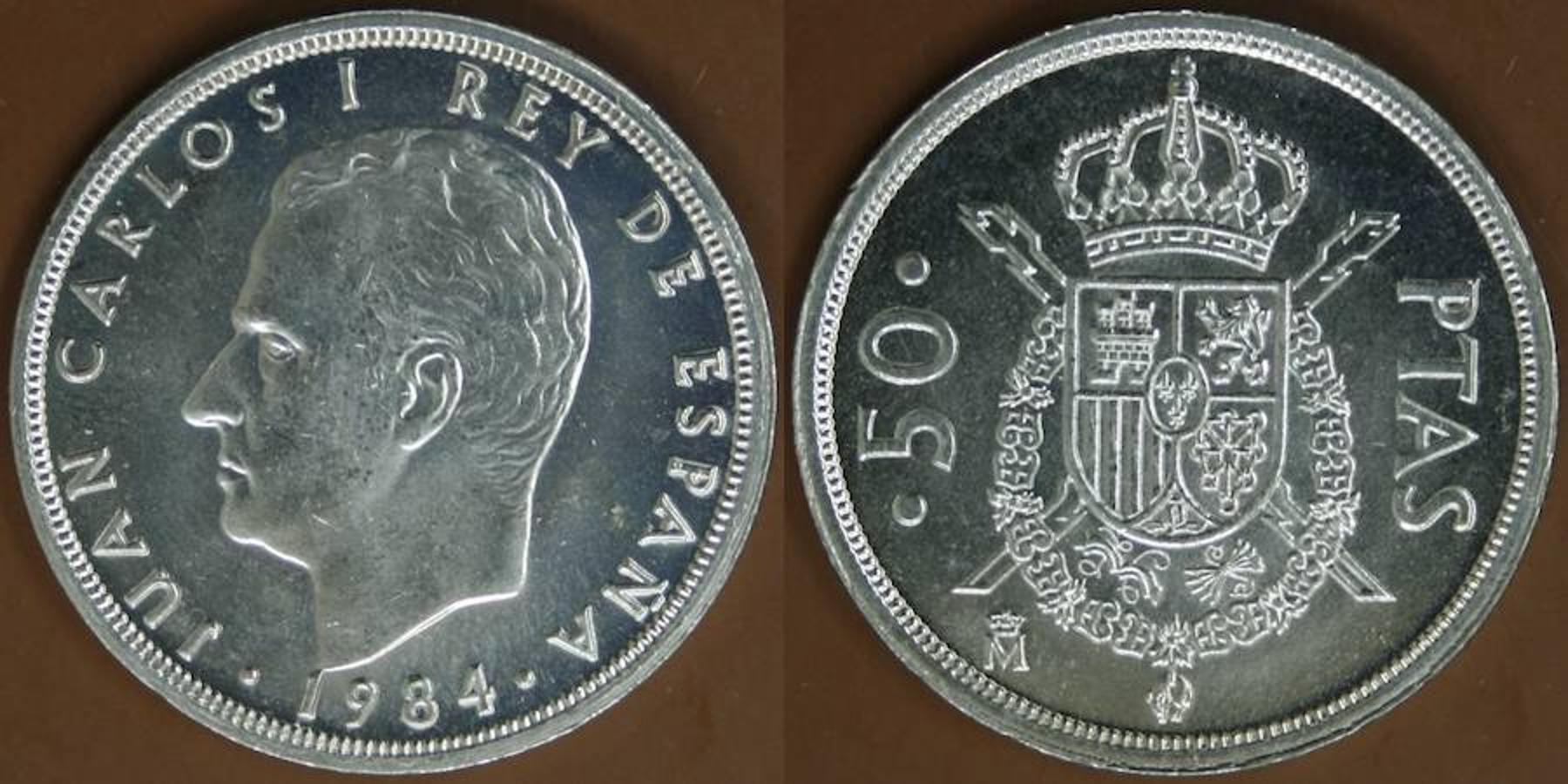 50 Pesetas 1984. Antes de que se estableciera el nuevo sistema monetario en 1990, circulaban enormes monedas de 50 pesetas, que ya alcanzan el valor de 60 o 70 euros.