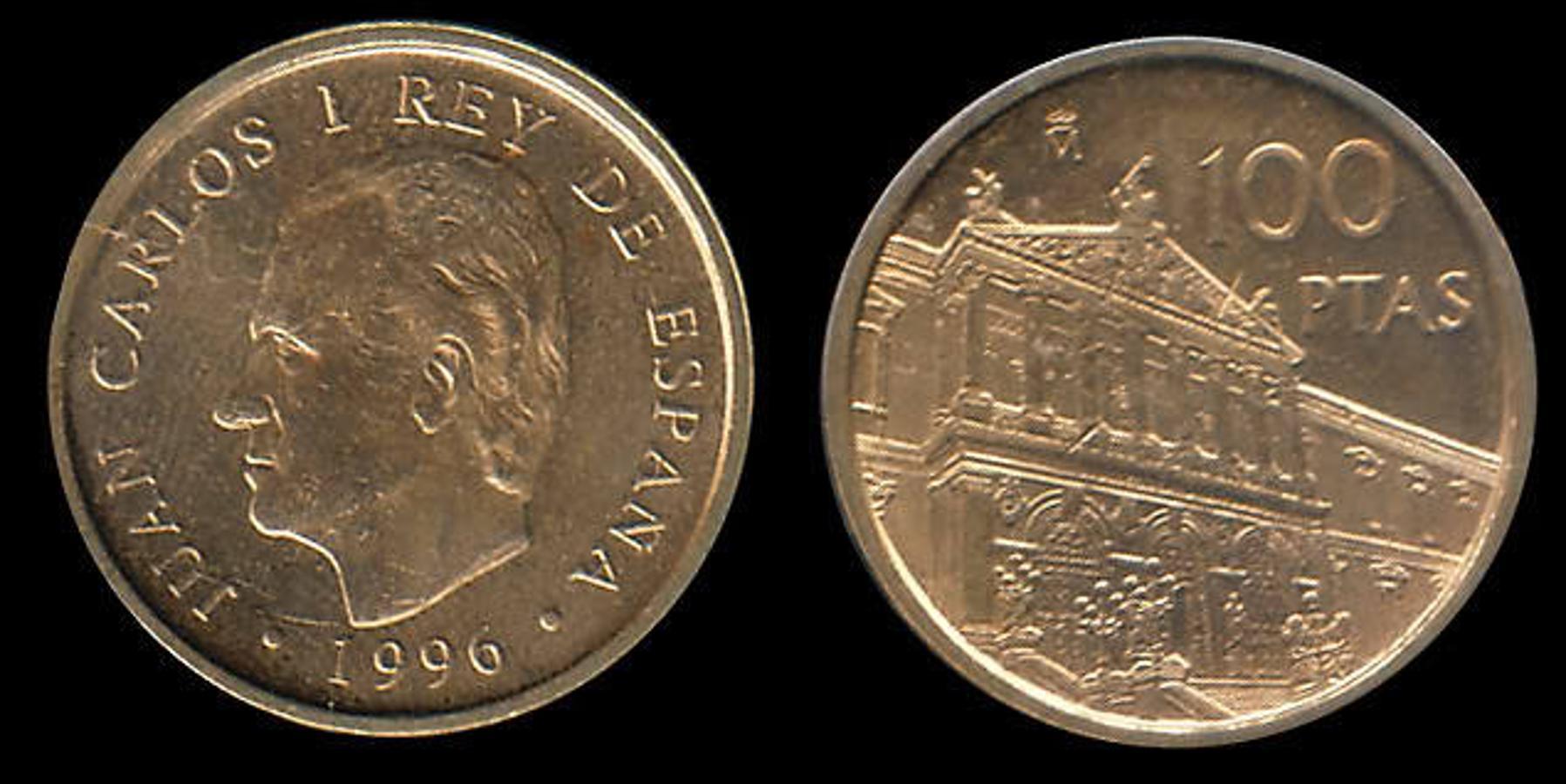 100 Pesetas 1966. Estas grandes monedas de plata se fabricaron en 1966, aunque las del 69 son las más caras, llegando a costar 145 euros. Existe una variante que tiene el palo del 9 recto y que ya alcanza los 400 euros.