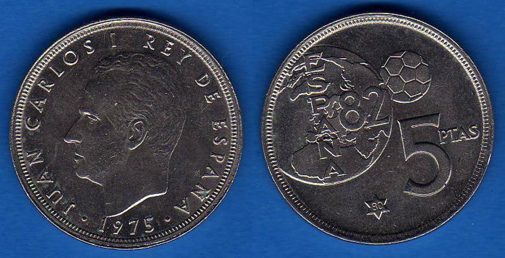 5 Pesetas 1975 (Reverso del Mundial del 82). Se trata de una de las más cotizadas, porque se fabricaron con motivo del Mundial del 82, aunque hubo un error y en algunas figura el año 1975. Los coleccionistas pagan entre 350 y 400 euros.