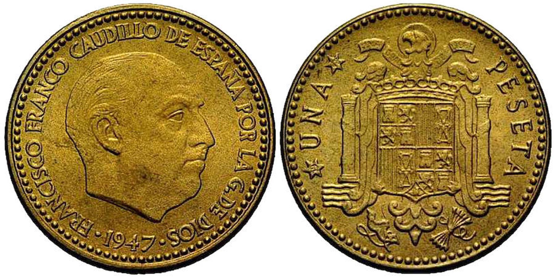Peseta 1947. Este año aparecieron las primeras monedas con la efigie de Franco y llegaron a conocerse popularmente como «rubias». Hoy en día se pueden vender hasta por 1.400 euros, según el estado de conservación.