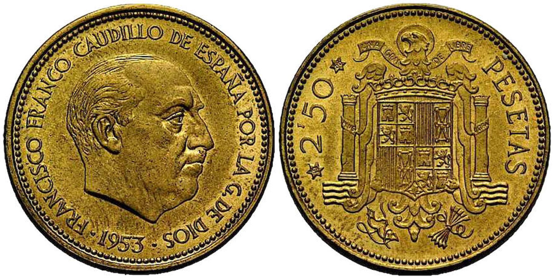2,5 Pesetas 1953. Es una tarea difícil encontrar esta moneda, por lo que las personas que tengan alguna en buen estado de conservación se pueden llegar a embolsar hasta 1.700 euros.