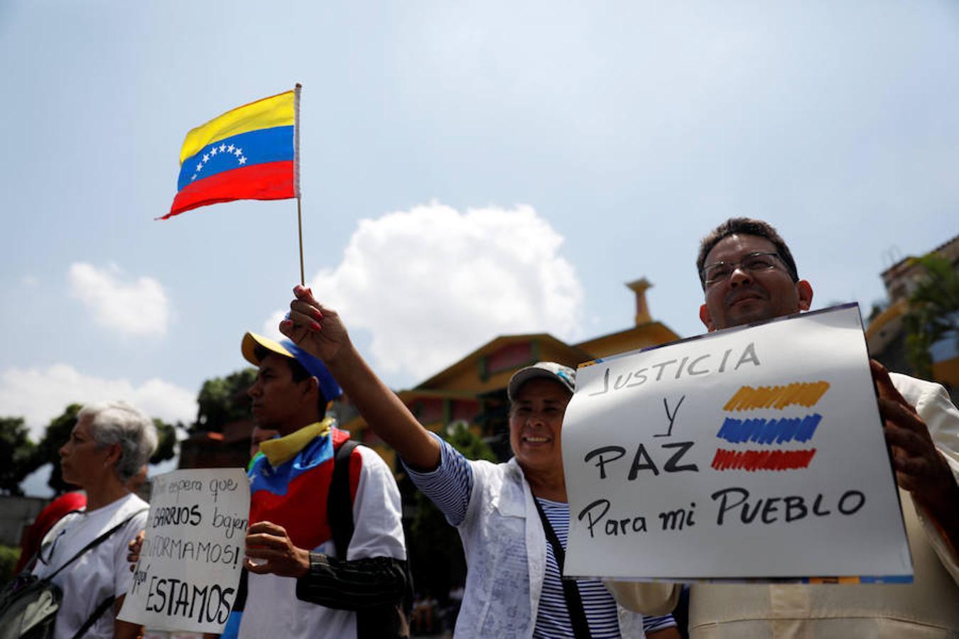 Manifestantes en Caracas contra el Gobierno de Maduro