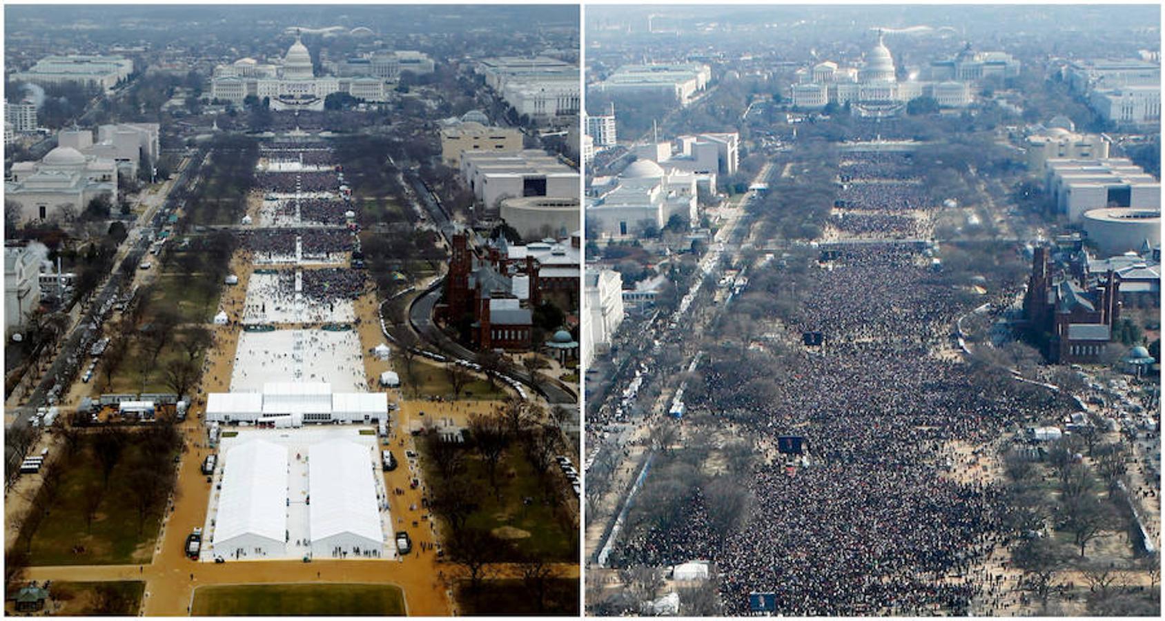 Una combinación de fotos tomadas en el National Mall muestra a las multitudes que asisten a las ceremonias de toma de posesión para jurar en el presidente de EE.UU. Donald Trump el 20 de enero de 2017 y el presidente Barack Obama el 20 de enero de 2009, en Washington, EE.UU
