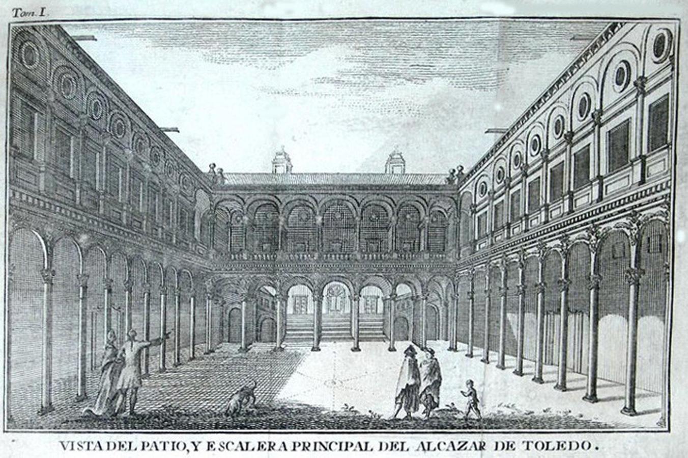 Calcografía del patio del Alcázar en la obra de Antonio Ponz (1787). Sobre la cubierta meridional de la escalera imperial destacan dos chimeneas