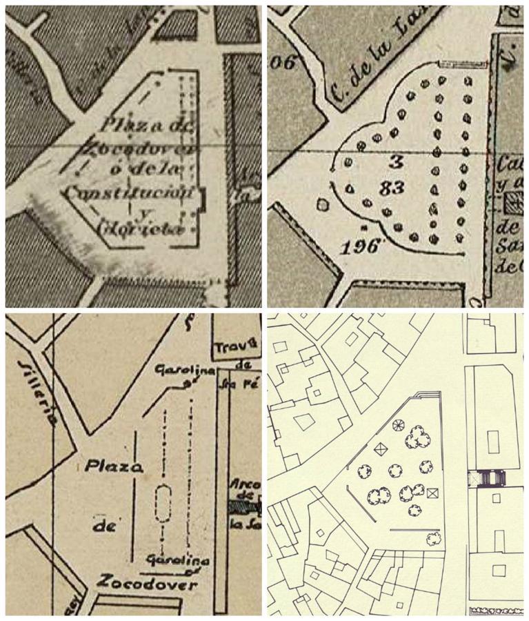 La plaza de Zocodover en los planos de 1858, 1882, 1926 y 1990. Archivo Municipal de Toledo.