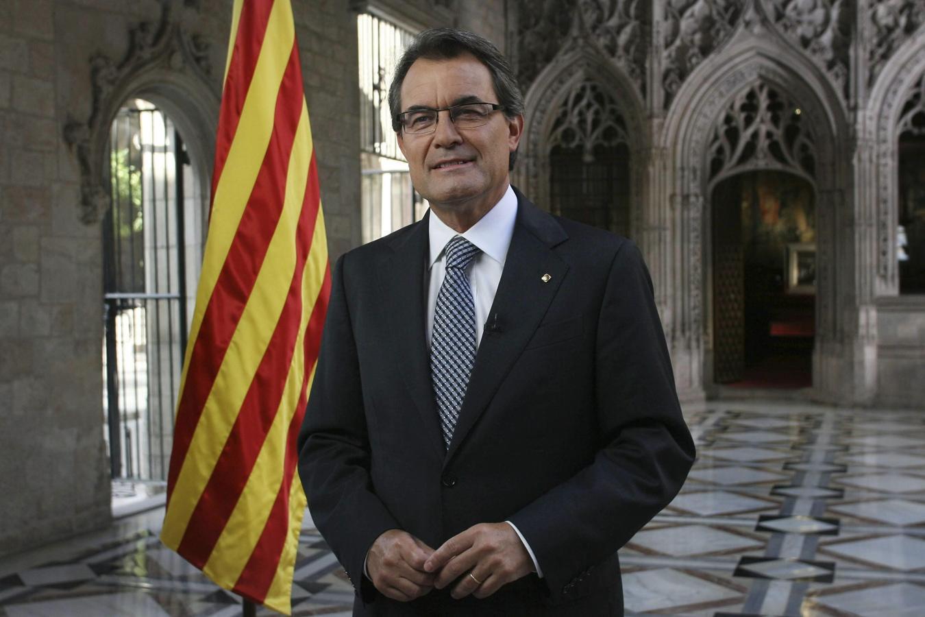 El expresidente de la Generalitat Artur Mas pronunciando su mensaje institucional durante la Diada de 2012