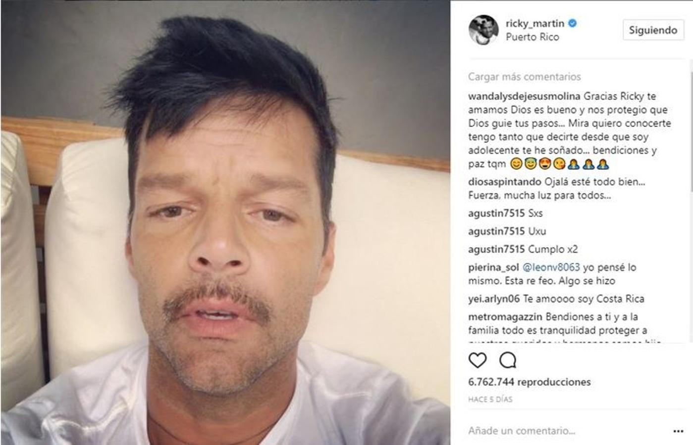 Ricky Martin: «Estén todos ya listos y preparados y espero que todos estén escuchando a las autoridades y a los telediarios para que sepan más o menos como está la situación»