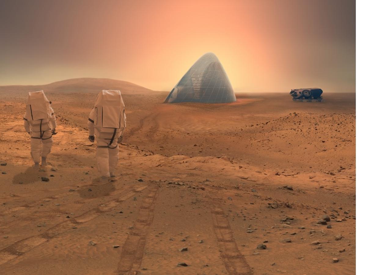Proyecto para levantar iglús en la superficie de Marte, en la exposición «Marte. La conquista de un sueño», de la Fundación Telefónica en Madrid.