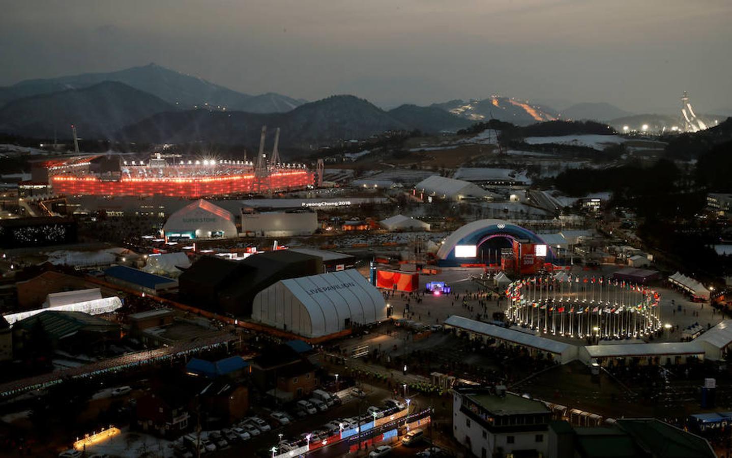 Imagen exterior del estadio de estos Juegos Olímpicos de Invierno 2018 celebrados en Pyeongchang
