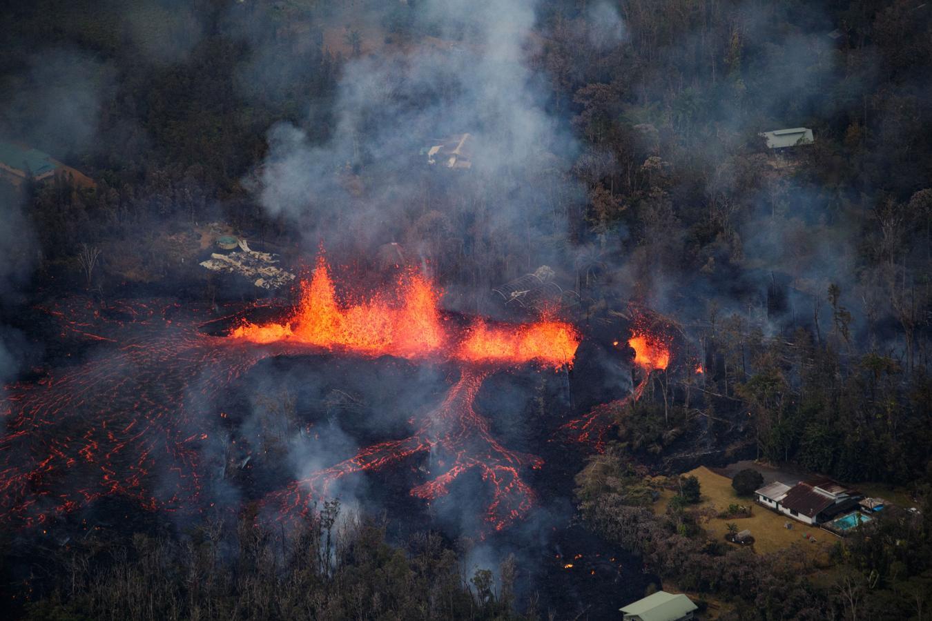 Estampa que ha dejado el volcán Kilauea, en Hawái, tras entrar en erupción.