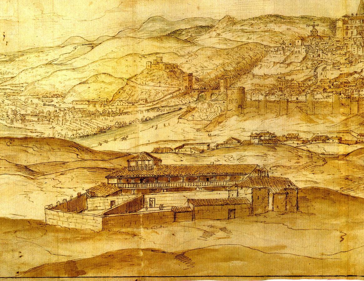 Antiguo Hospital de San Antón en 1563. Dibujo de A. Wyngaerde (1525-1571)