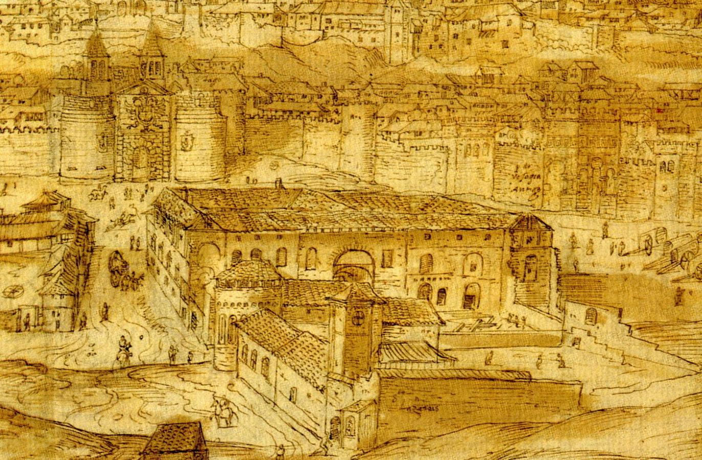 En primer término, el hospital de San Lázaro en 1563. Detrás el edificio de Tavera en construcción. Dibujo de A. Wyngaerde