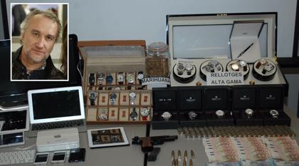 Incautan al padre de Nadia 32 relojes de lujo, drogas, armas y munición