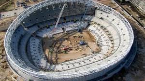 Vista aérea del estado de las obras del estadio Wanda Metropolitano