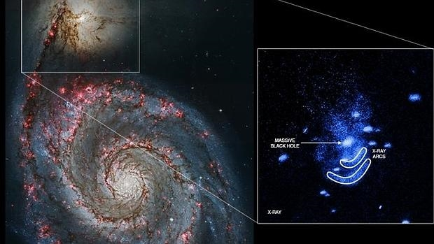 La colisión entre estas dos galaxias ha producido una gran actividad en e agujero negro central de NGC 5195, la más pequeña