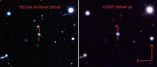 Imágenes de la galaxia antes de la explosión (izquierda) y después (derecha)