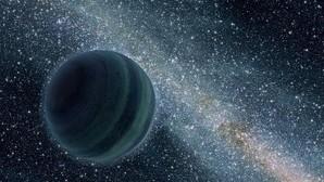 Representación de un planeta imaginario flotando en el espacio