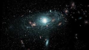 Recreación artística de las galaxias que se encuentran detrás de la Vía Láctea.